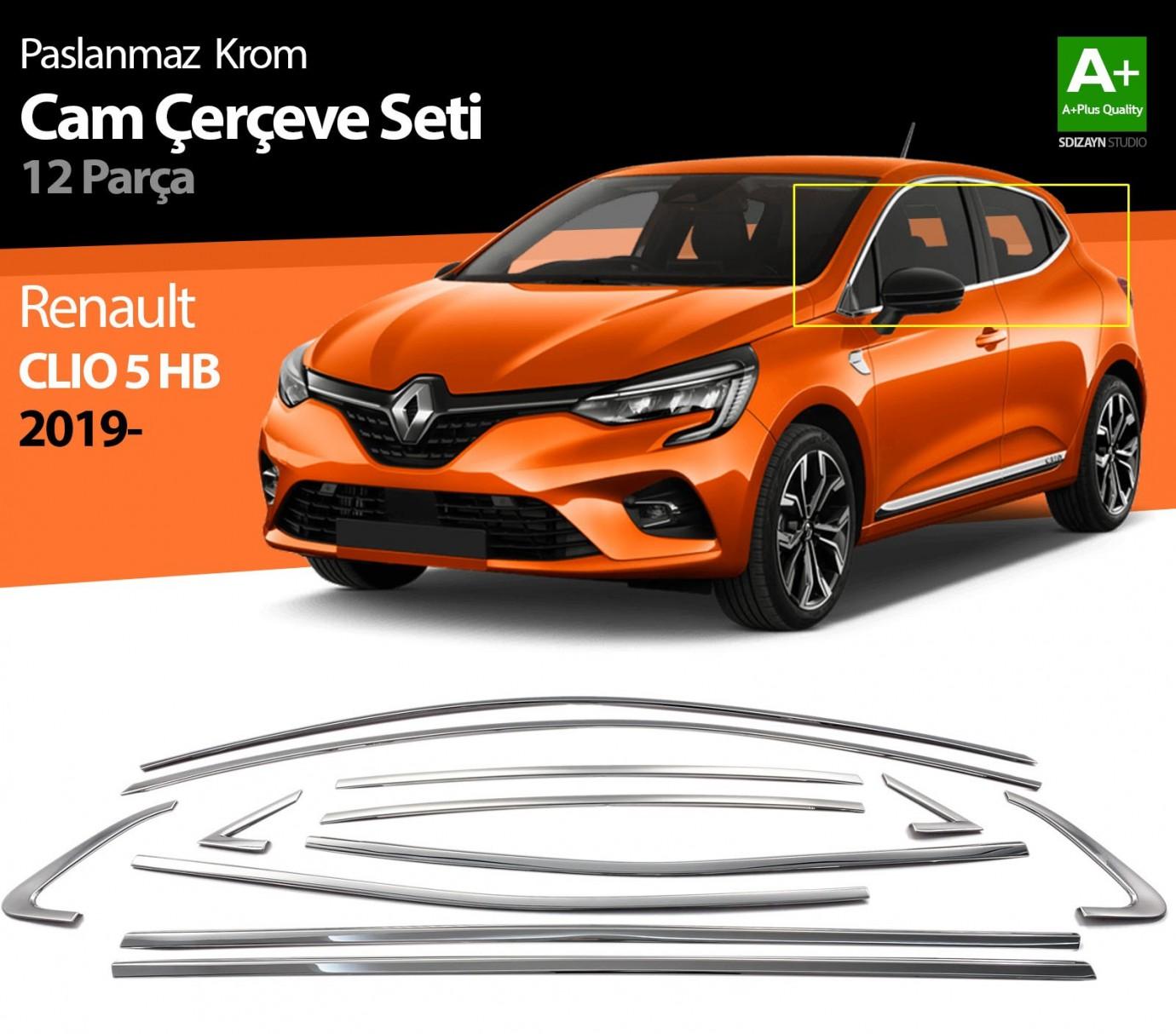 Renault Clio 5 Krom Cam Çerçevesi 12 Prç. 2019 ve Üzeri