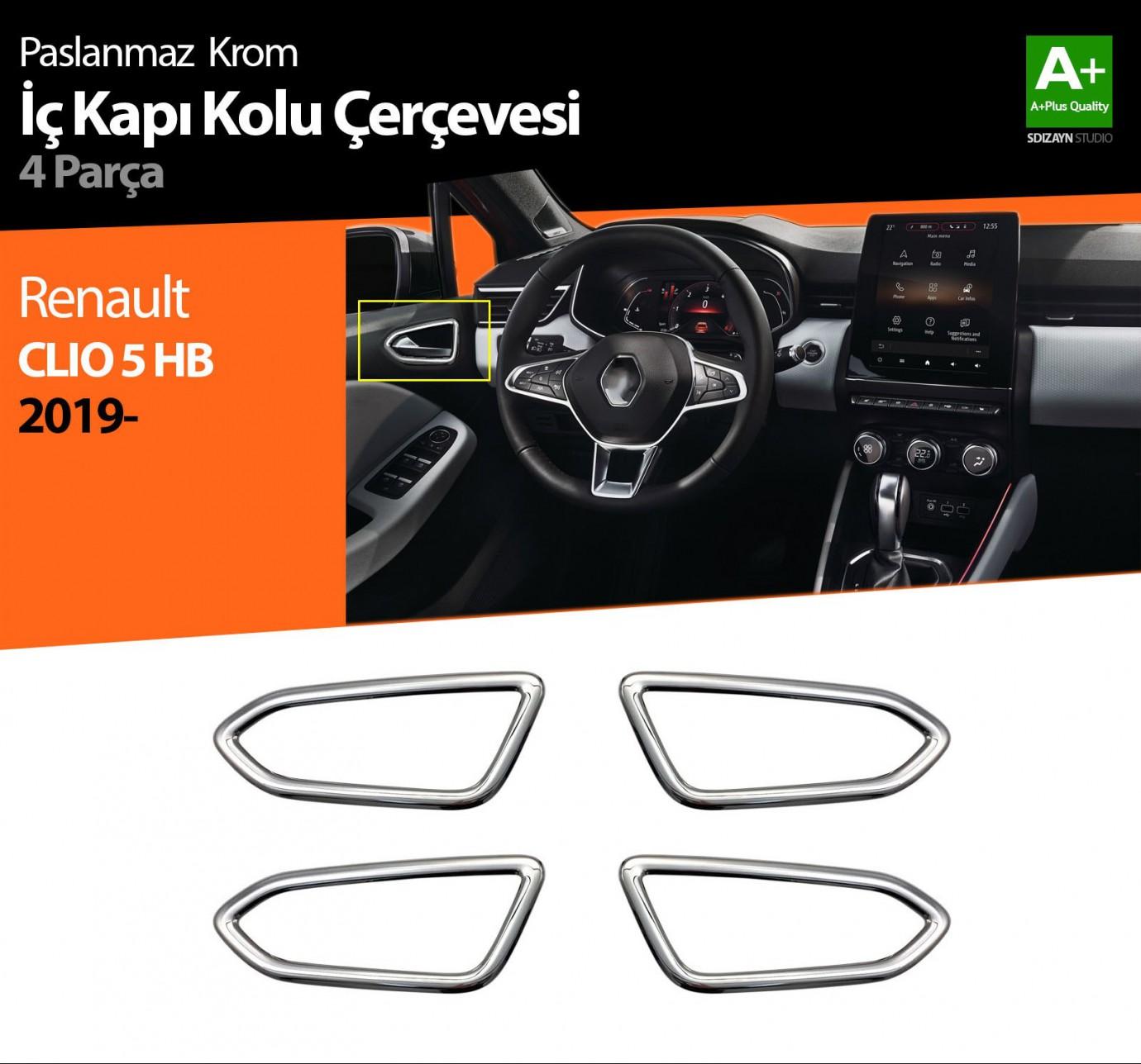 Renault Clio 5 Krom İç Kapı Kolu Çerçevesi 4 Prç. 2019 ve Üzeri