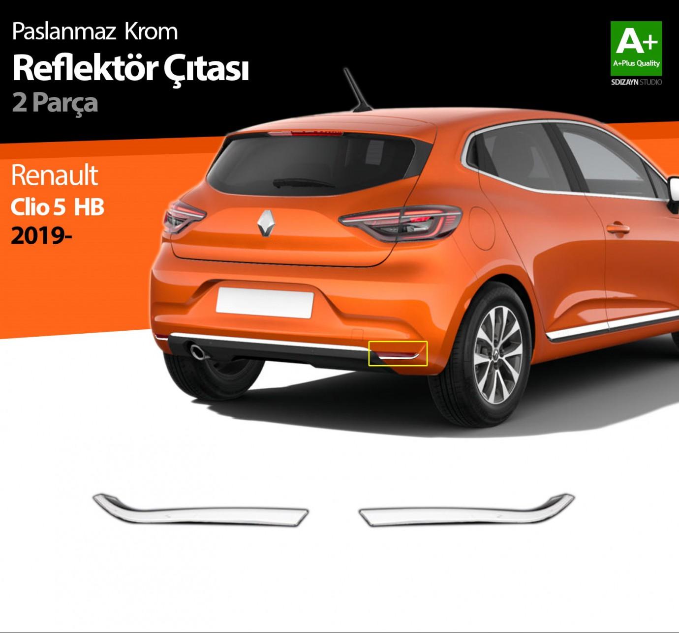 Renault Clio 5 Krom Reflektör Çıtası 2 Prç. 2019 ve Üzeri