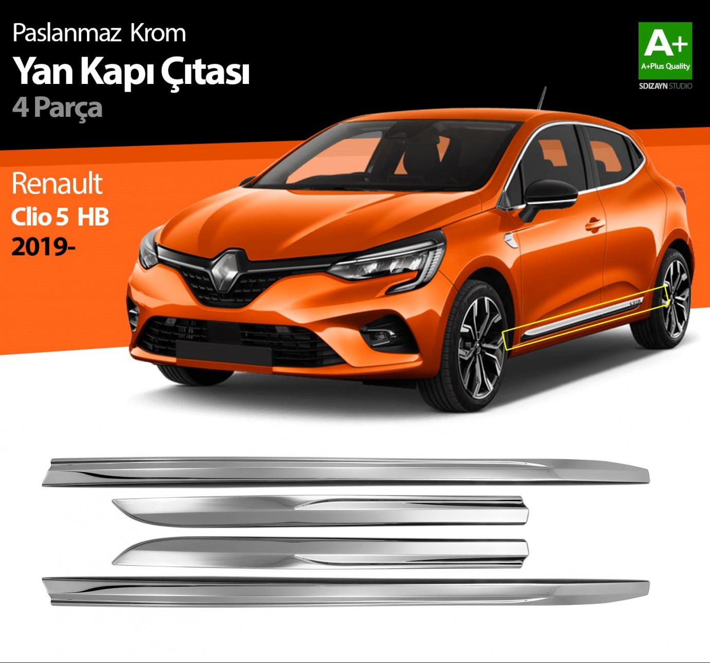 Renault Clio 5 Krom Yan Kapı Çıtası 4 Prç. 2019 ve Üzeri