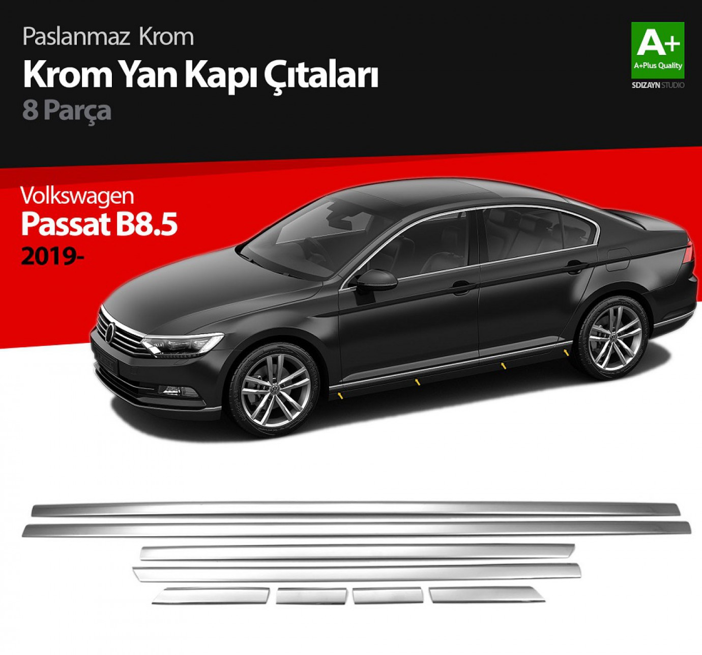 VW Passat B8.5 Krom Yan Kapı Çıtası 8 Parça 2019 ve Üzeri
