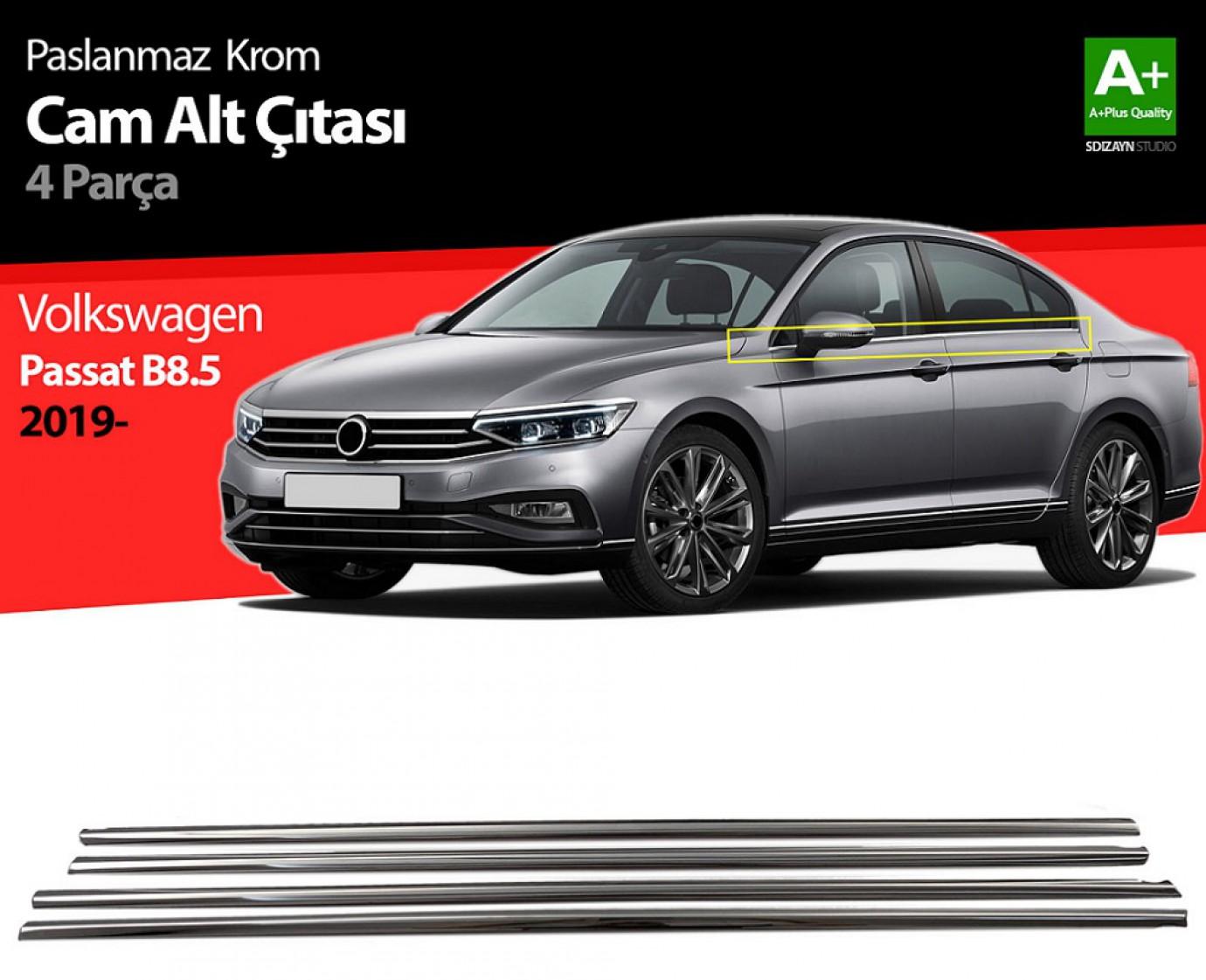 VW Passat B8.5 Krom Cam Çıtası 4 Parça 2019 ve Üzeri